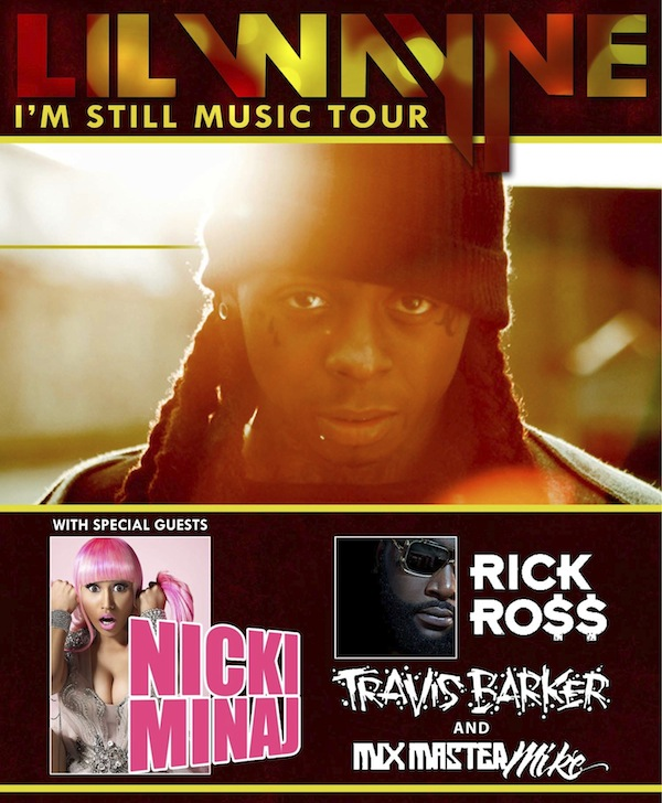 His three supporting acts include female rapper Nicki Minaj,