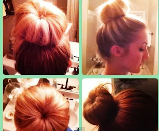 sock bun hair style updo for girls