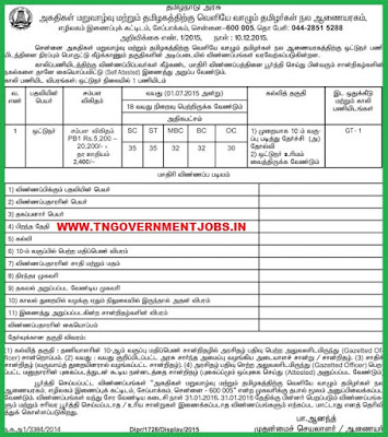 Applications are invited for the Post of Driver in Commissionerate of Rehabilitation and Welfare of Non Resident Tamils