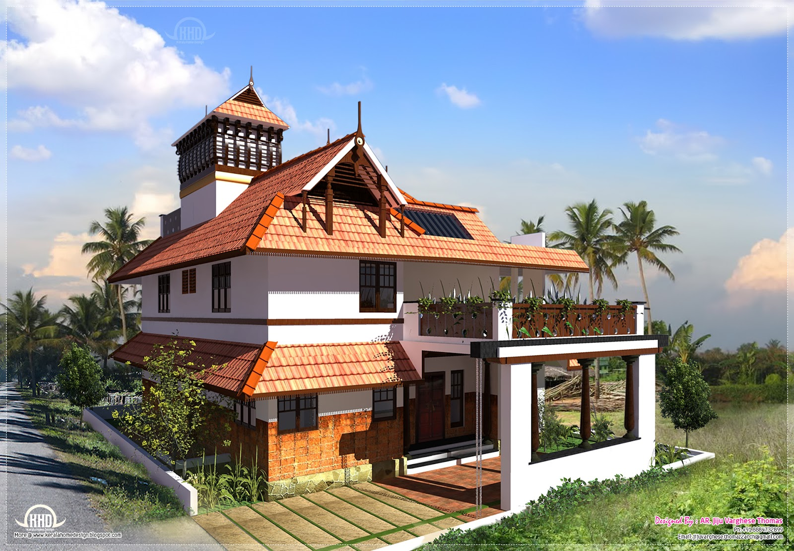 Kerala traditional home in 2000 square feet house design for Traditional house architecture