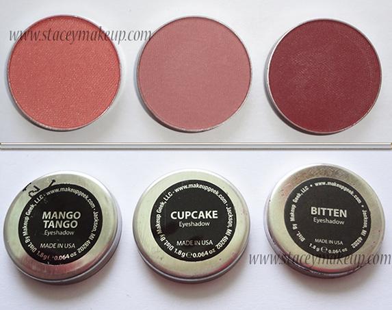 Makeup Geek Eyeshadows - mango tango, cupcake, bitten