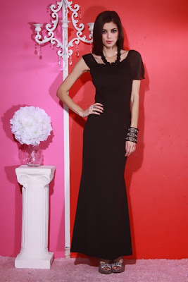 BLACK ASYMMETRICAL CHIFFON TRIM LAYERED EVENING DRESS