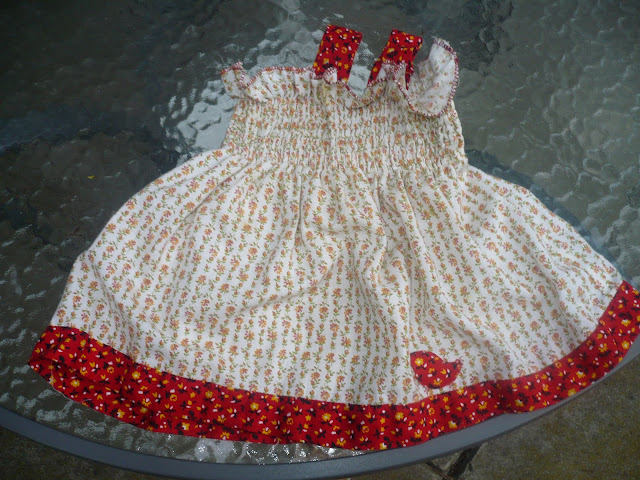 shirred  dress with bird applique