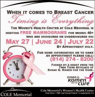 5-27, 6-24, 7-22 Free Mamograms