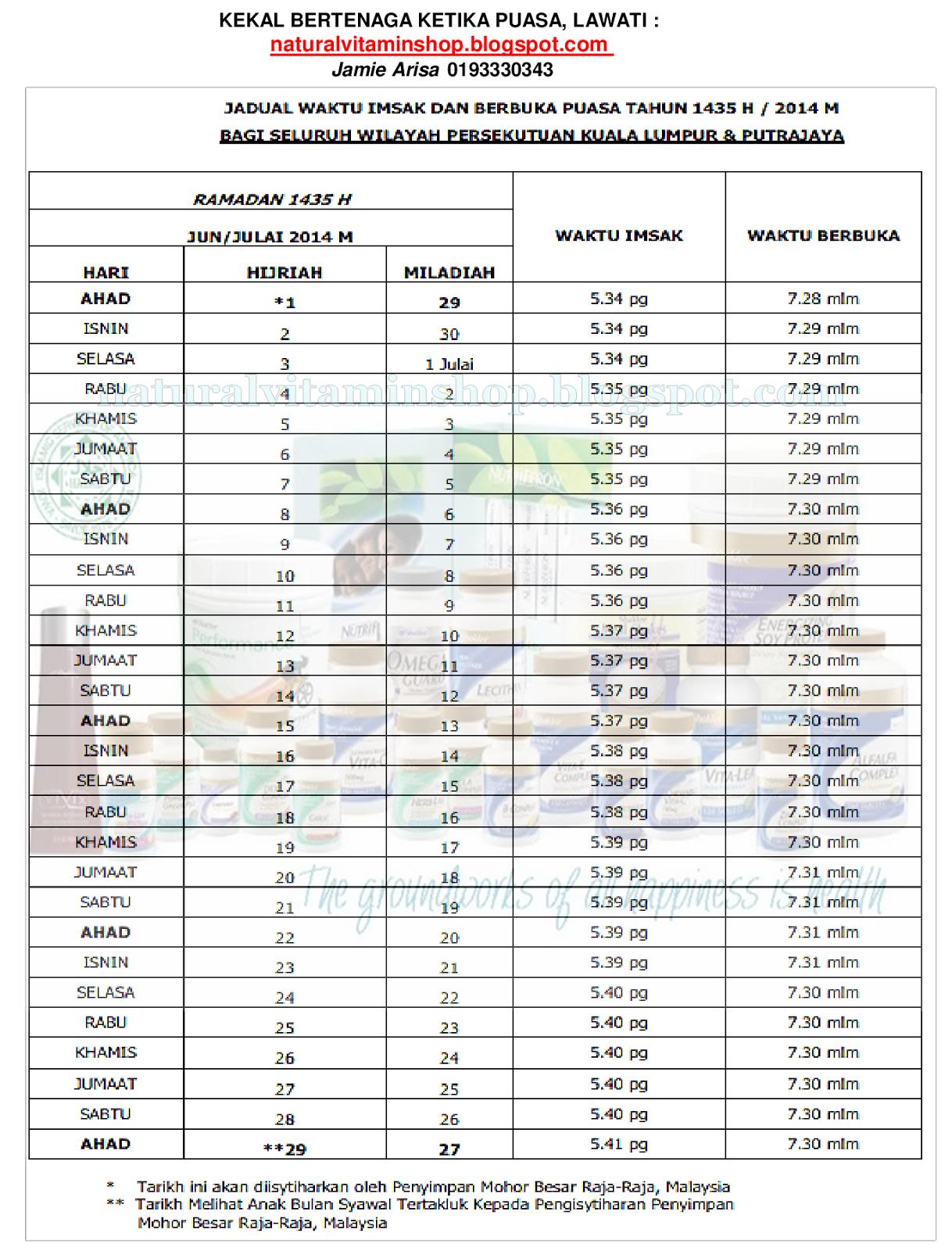 Download Jadual Berbuka Puasa 2014 Percuma disini