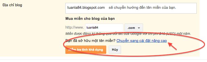 Hướng dẫn cài đặt tên miền riêng cho blogspot