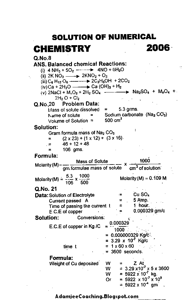 Chemistry Past Year Paper 2006