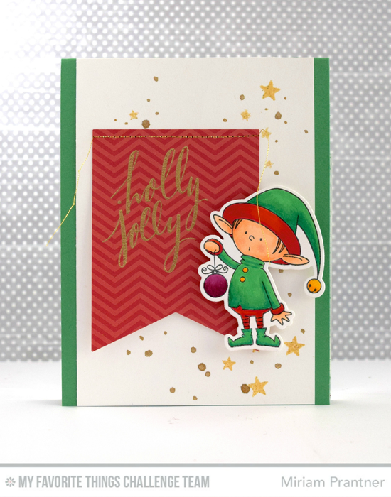 Jolly Elf Card by Miriam Prantner featuring the Hand Lettered Holiday stamp set and the Birdie Brown Santa's Elves stamp set and Die-namics #mftstamps