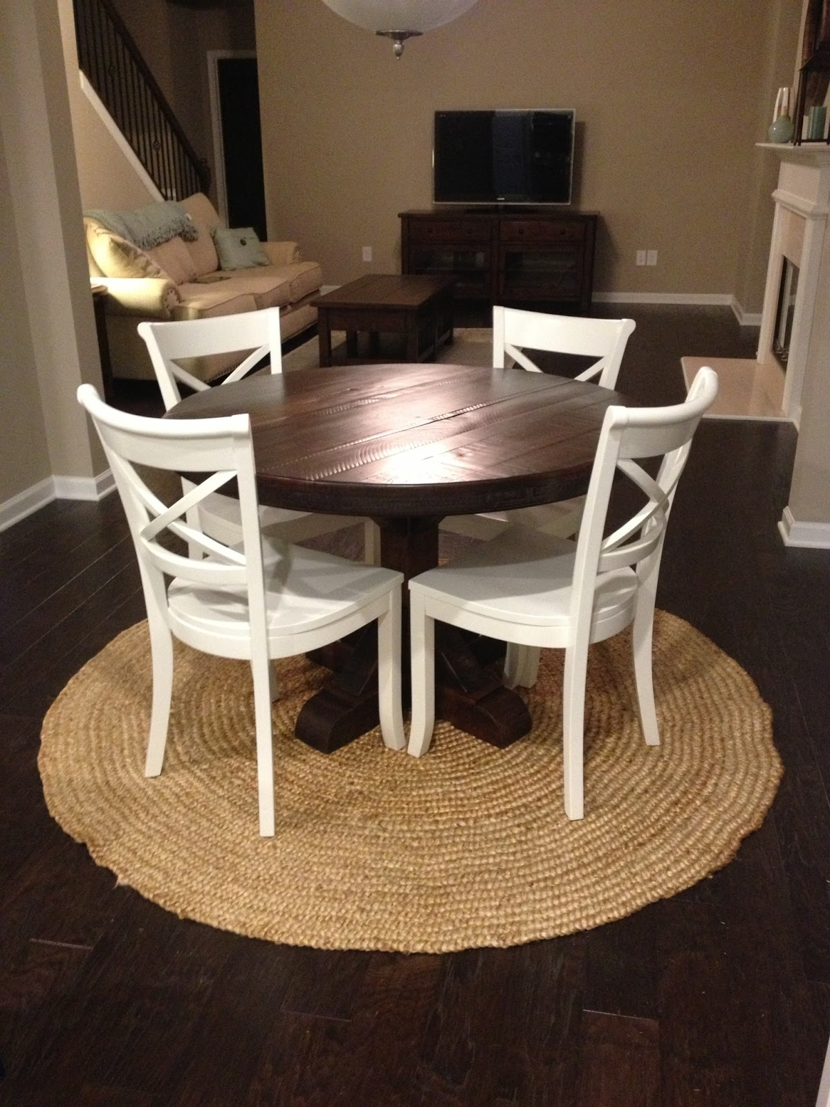 Rustic round pedestal table custom farm table rustic for Rustic round kitchen table
