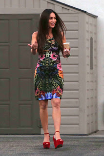Megan Fox hot in a tight floral dress