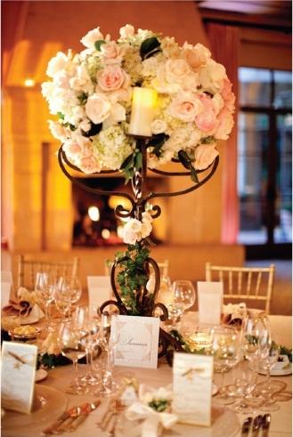 Invitaciones artesanales candelabros como centros de mesa - Centros de boda ...