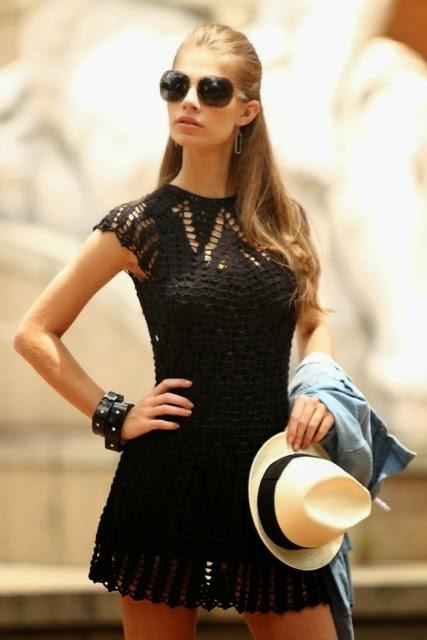 Vestido Negro a Crochet