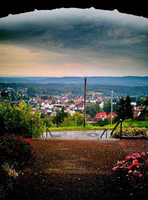 village, hills