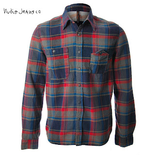 NUDIE JEANS CO MENS JOAKIM CHECK SHIRT UK SIZE L RRP £100 SLIM FIT INDIGO RED