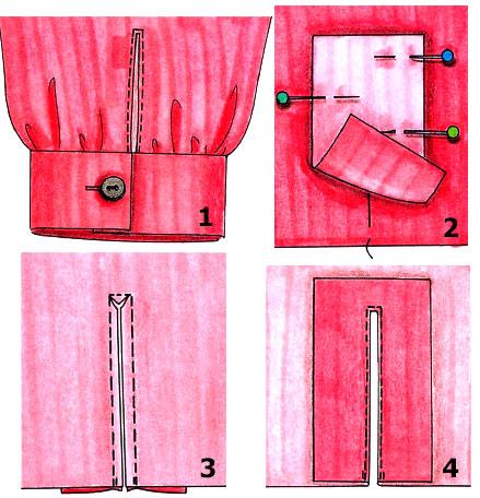 Обработка разреза рукава для застежки
