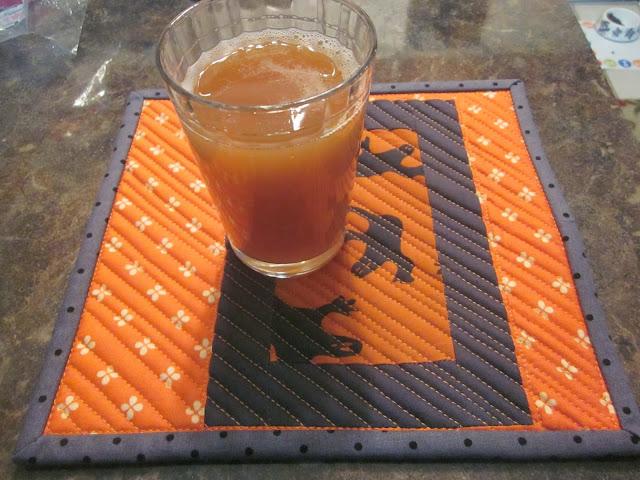 quilted mug rug cider