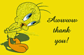 Tweety Bird saying Aww thank you!