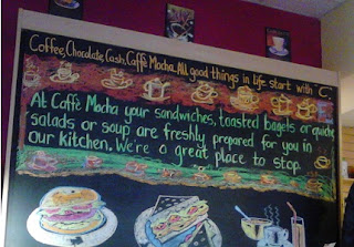 blackboard picture: Coffee, Chocolate, Cash, Caffe Mocha:  all good things in life start with C