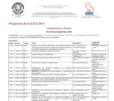 Imagen del programa de actividades y conferencias de la ETyC 2011