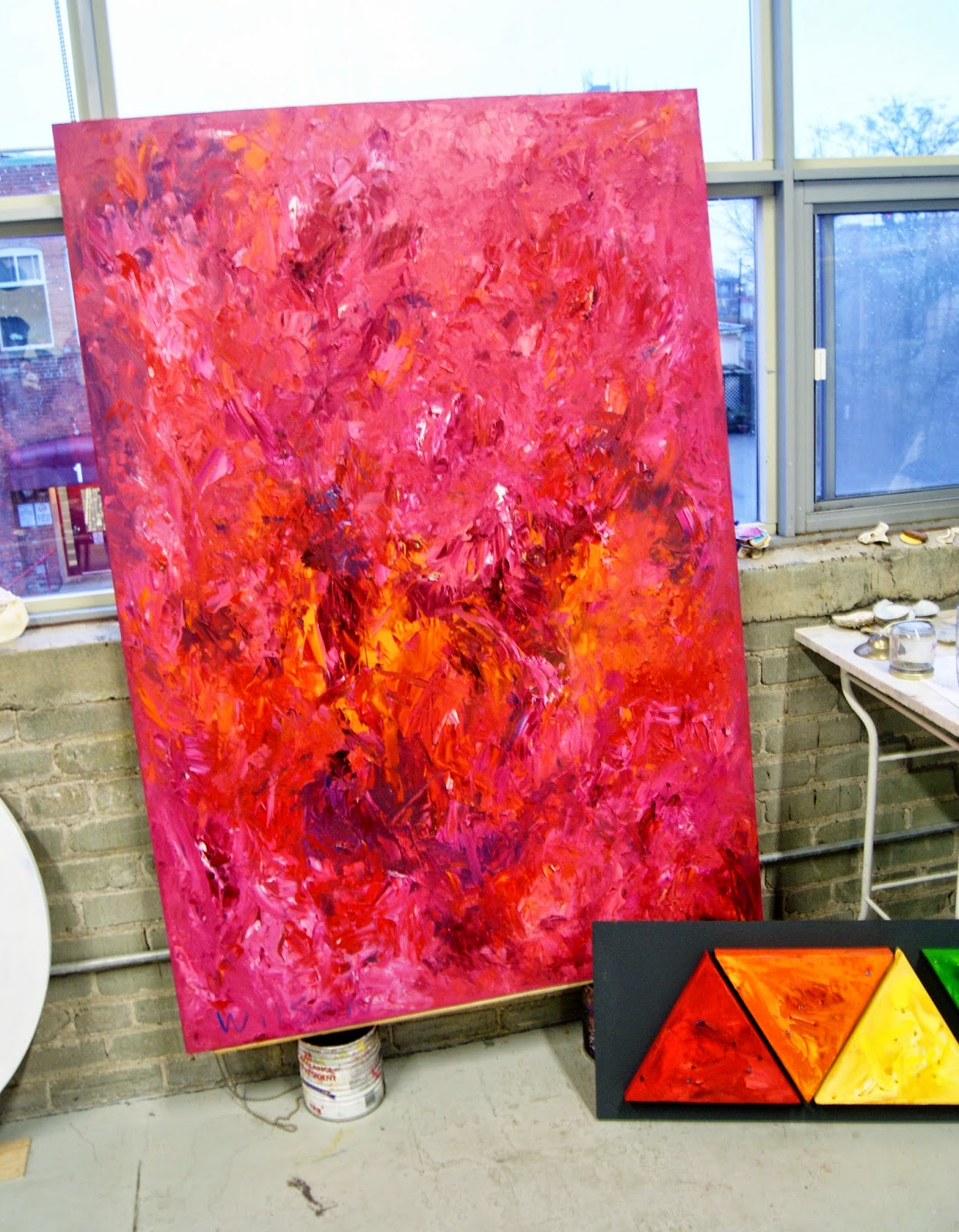 Canadian Abstract Artist Candace Wilson in her Toronto Studio surrounded by her Chakra healing paintings, culture, art, artmatters, circle, The Purple Scarf, Melanie.ps, Ontario, Canada westend, health, hospital