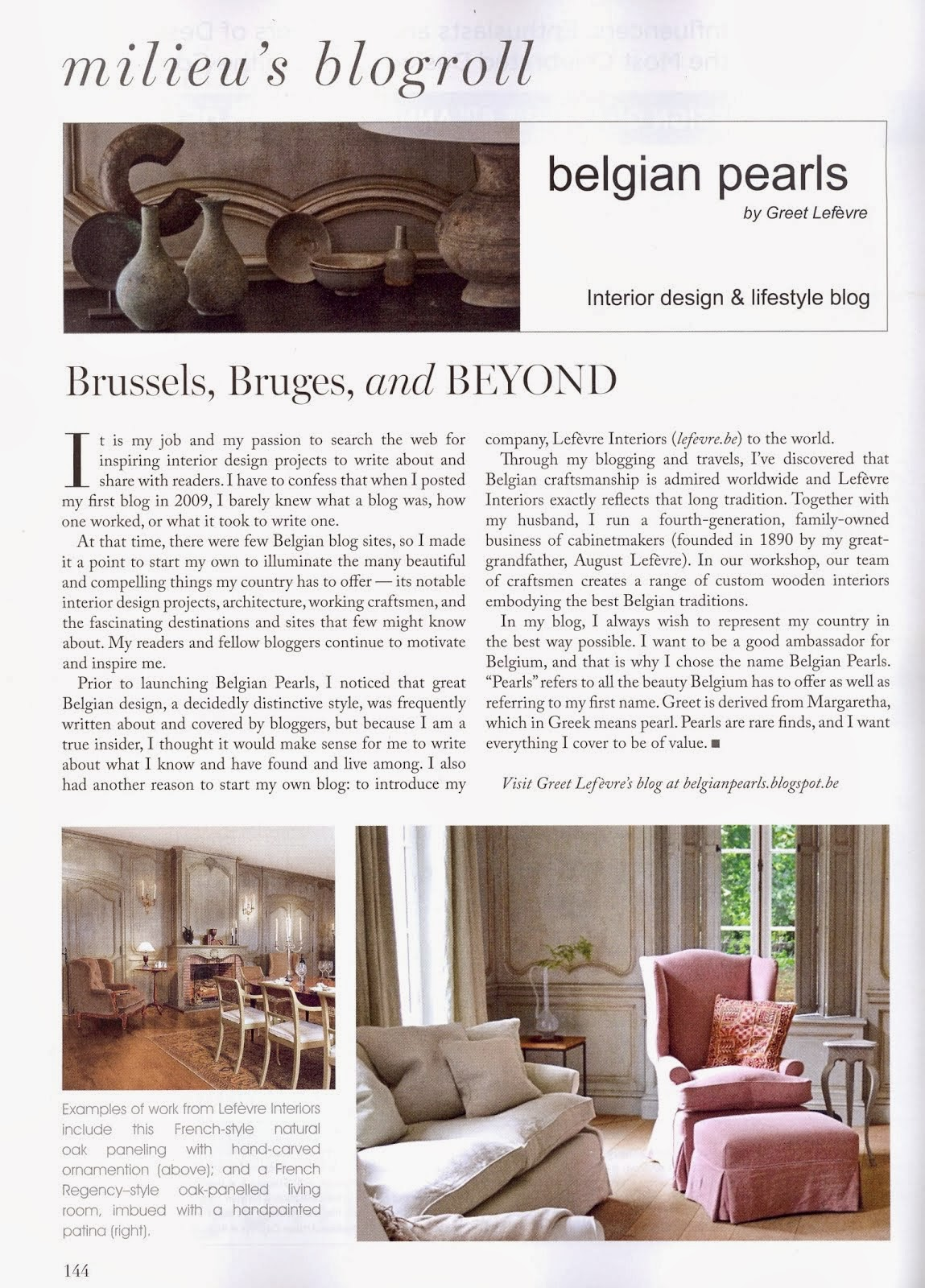 BELGIAN PEARLS FEATURED IN Magazine MILIEU Spring 2014
