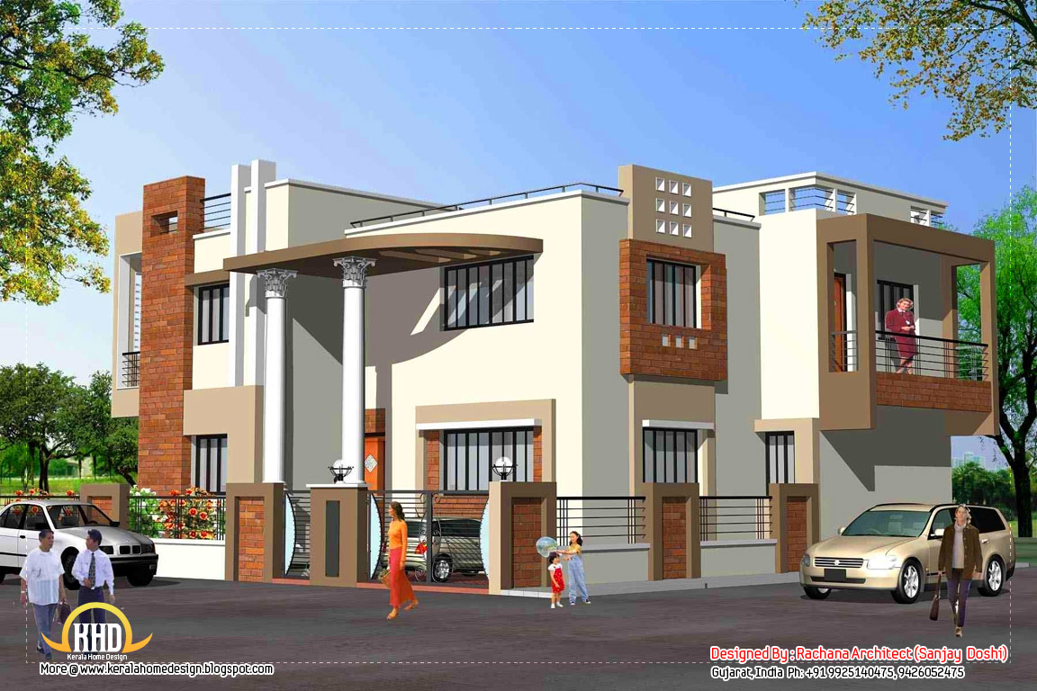 India home design with house plans 3200 sq ft home for Indian house image