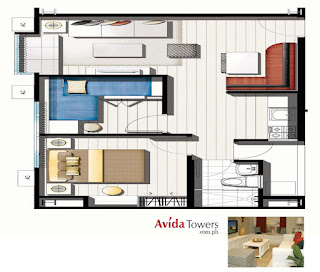 Avida Towers Makati West Two Bedroom Unit Plan