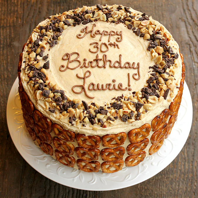 love laurie chocolate peanut butter pretzel cake