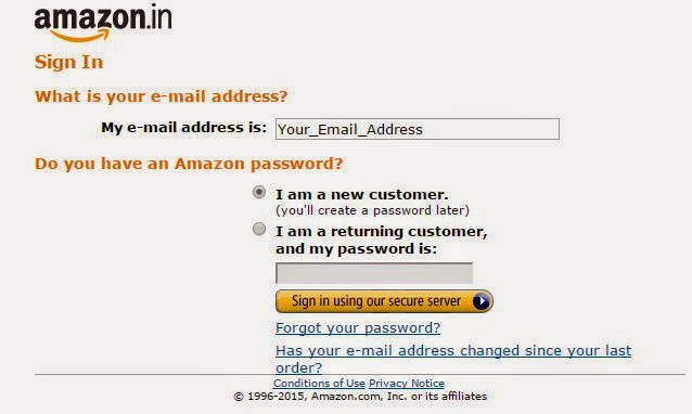 amazon india sign up form