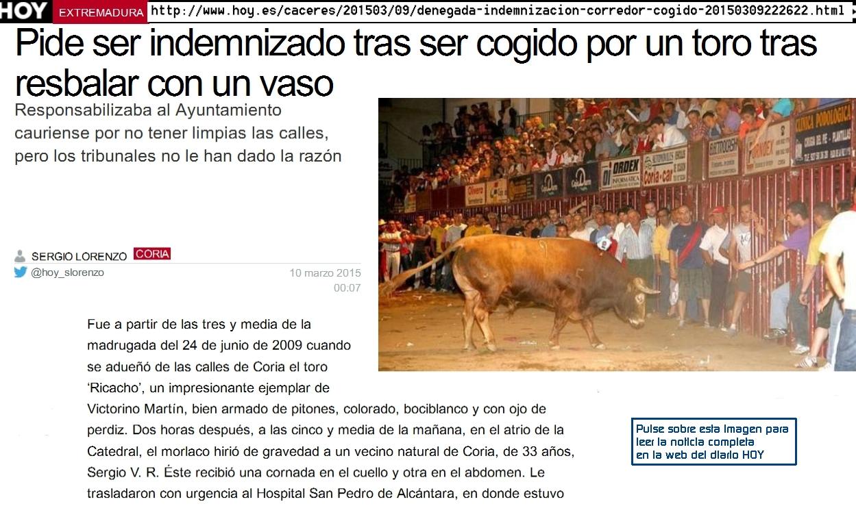 Sanjuanes de Coria 2009: denegada-indemnizacion-corredor-cogido