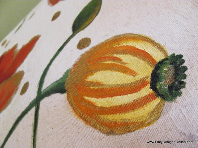 hand painted yellow poppy flower bud
