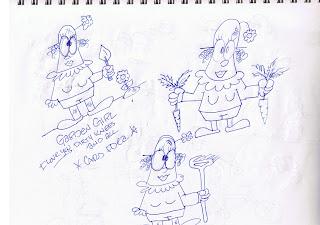 Boon cartoonist for hire draws cartoon garden girl
