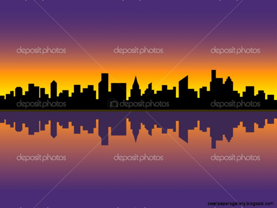 City Skyline at Sunset — Stock Vector © Lisann 3592048