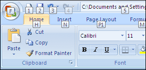 Penekanan ALT Cukup Lama akan Menampilkan Kotak Kecil Shortcut Lanjutan pada Toolbar dan Menu Ribbon Excel 2007
