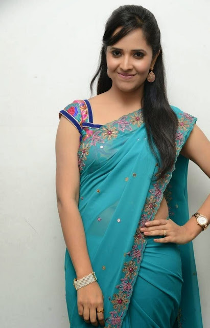 Telugu Anchor Anasuya Picture Gallery in Saree at Paddanandi Premalo Mari Movie Audio Launch 13.JPG