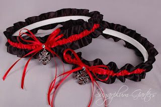 thin red line firefighter wedding garter set
