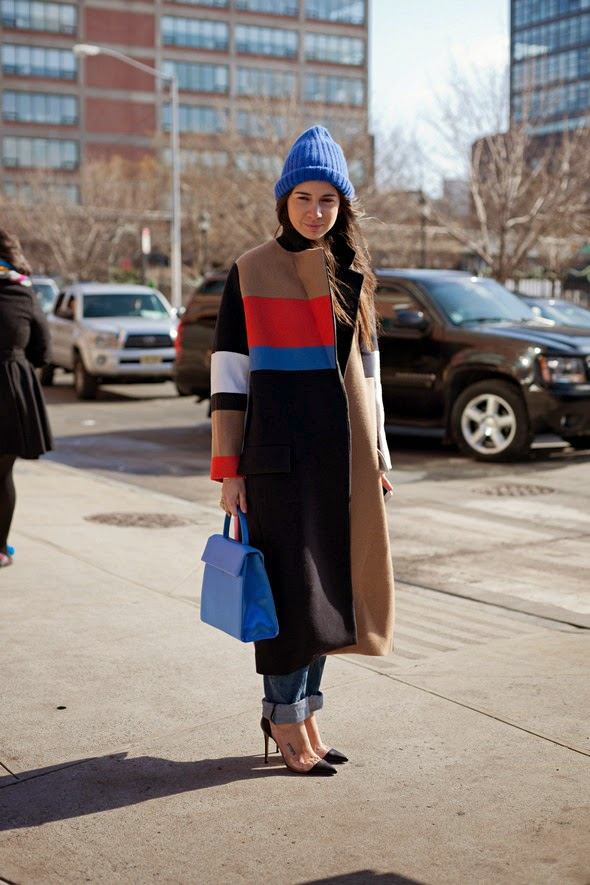 winter fashion new york street style color blocking high heels winter hats 15th street