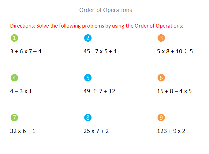order of operations math problems Spur your comprehension of basic math with this interactive quiz and printable worksheet on the order of operations these assets will be available.