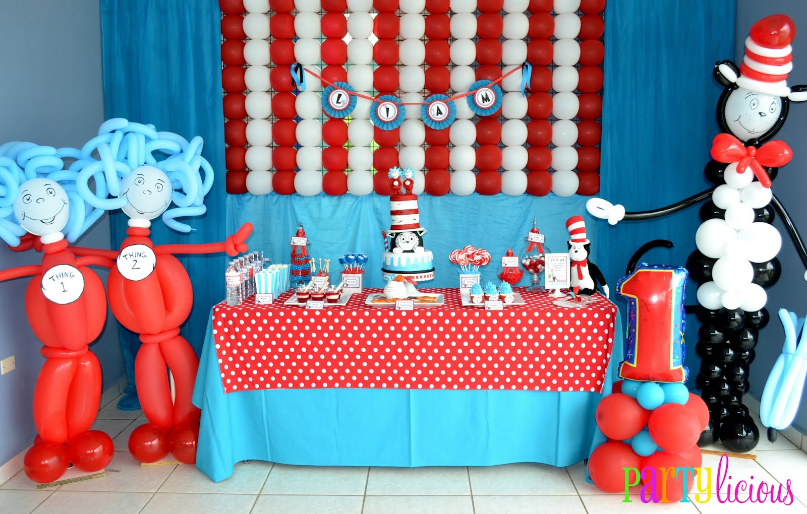 My Balloon Go To Girl Created Fantastic Sculptures Of The Characters And A Blue Red White Background I Rosette Banner With Birthday Boys