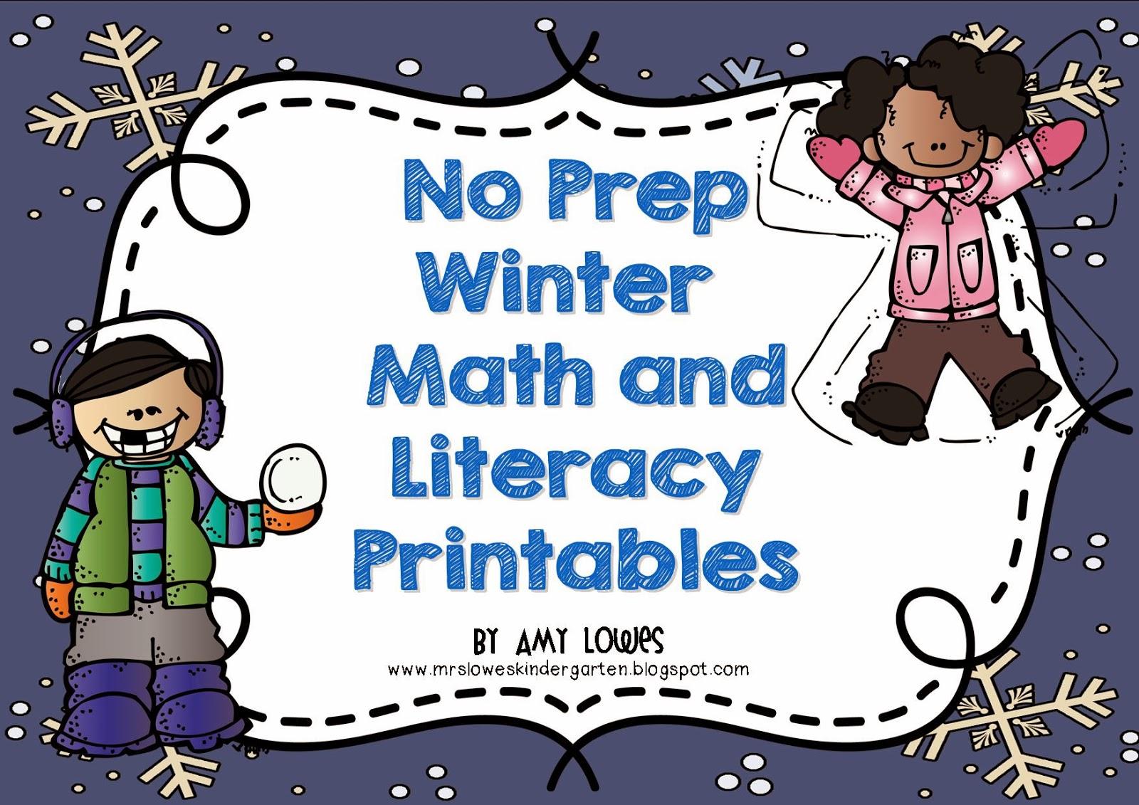 No Prep Winter Math and Literacy Printables