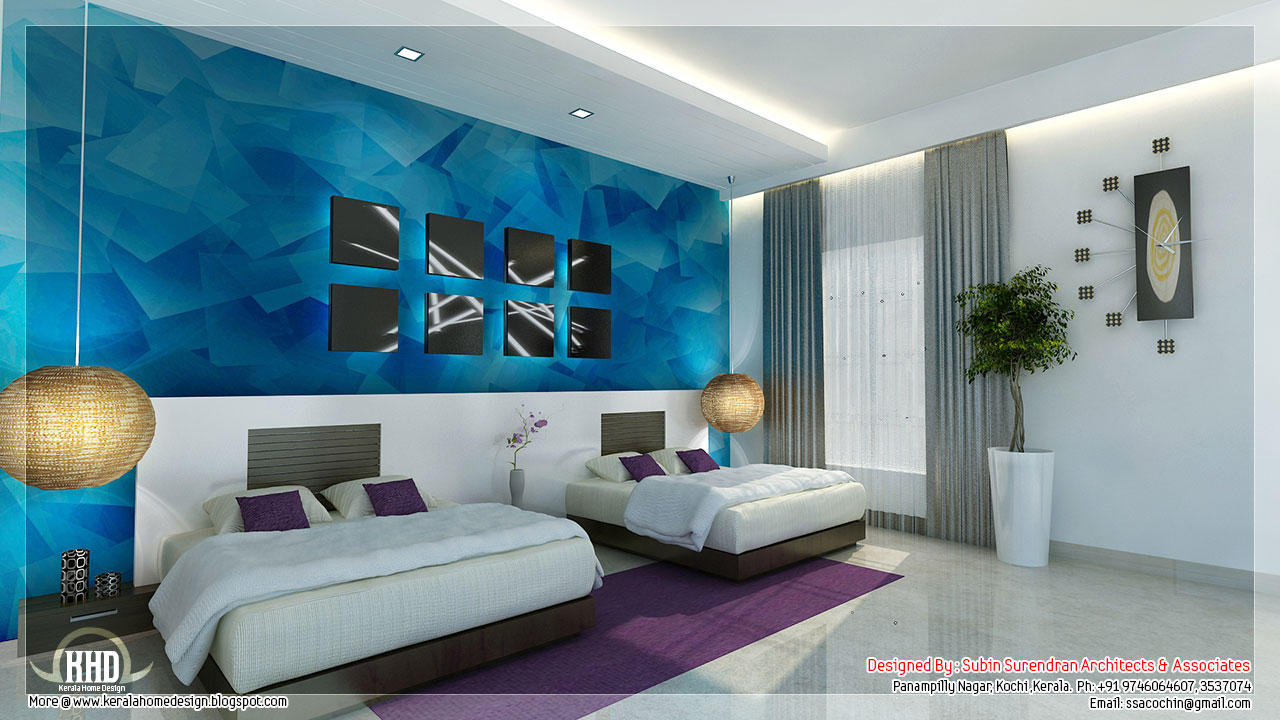 Beautiful bedroom interior designs kerala house design for Interior wallpaper designs india