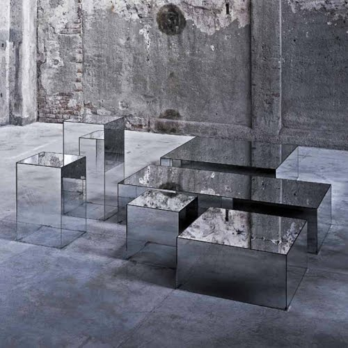 Mirrored Glass Illusion Tables.