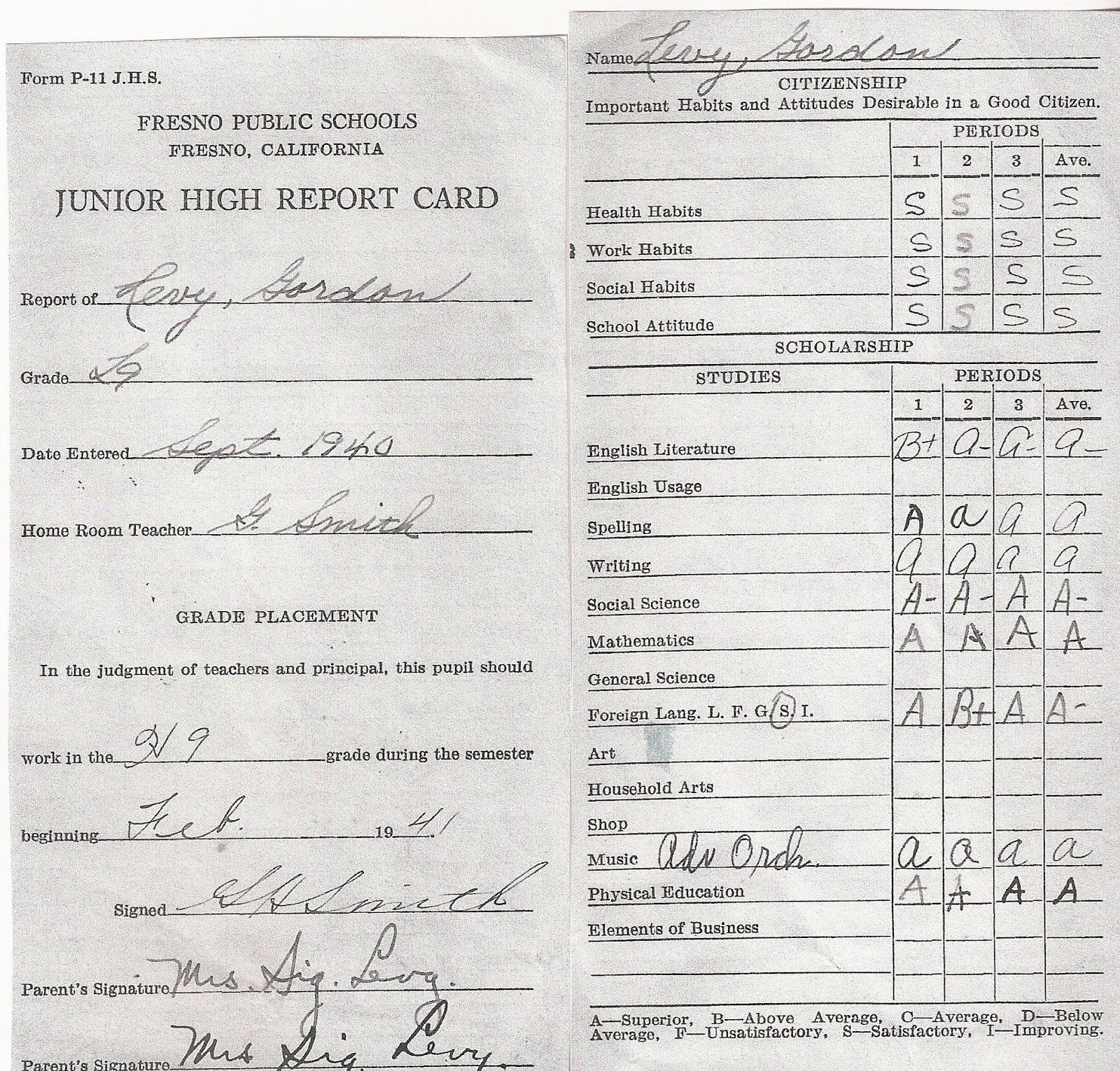 high school report card template