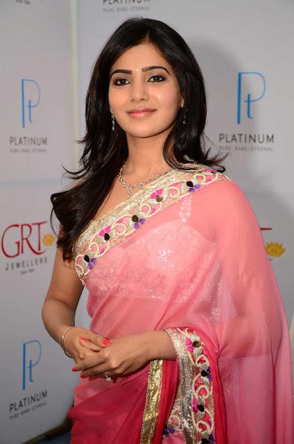 Actress Samantha Pink Saree Photos at grt jewellery opening