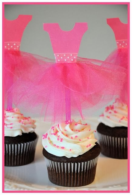 Tulle Cupcake Toppers for a Ballet Themed Party.