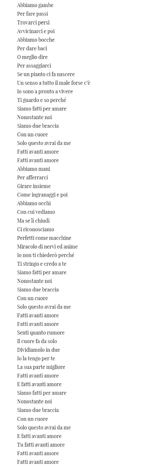 lyrics translation Fatti avanti amore Nek testo Sanremo 2015