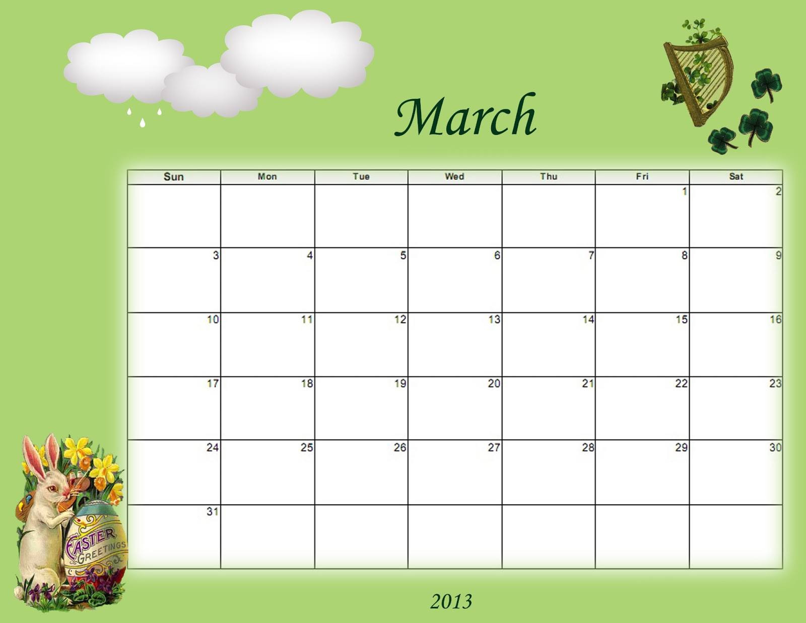 Sidetracked Artist: Printable and Desktop Calendars for March