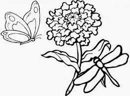 Mewarnai gambar bunga dan kupu-kupu untuk anak 13