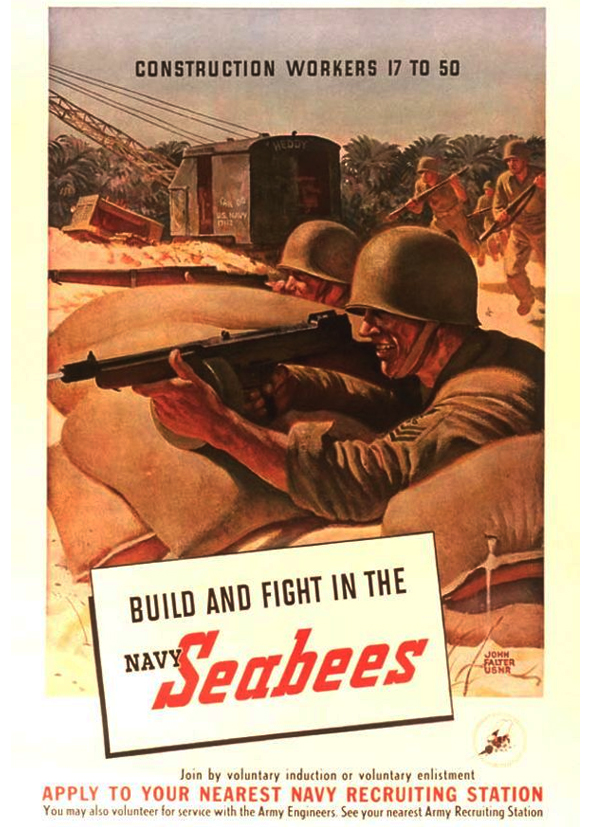 United States Navy Quonset Huts Seabee Recruitment Posters