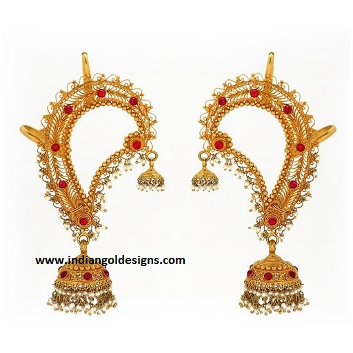 indiangoldesigns jhumka gold earrings ear chain